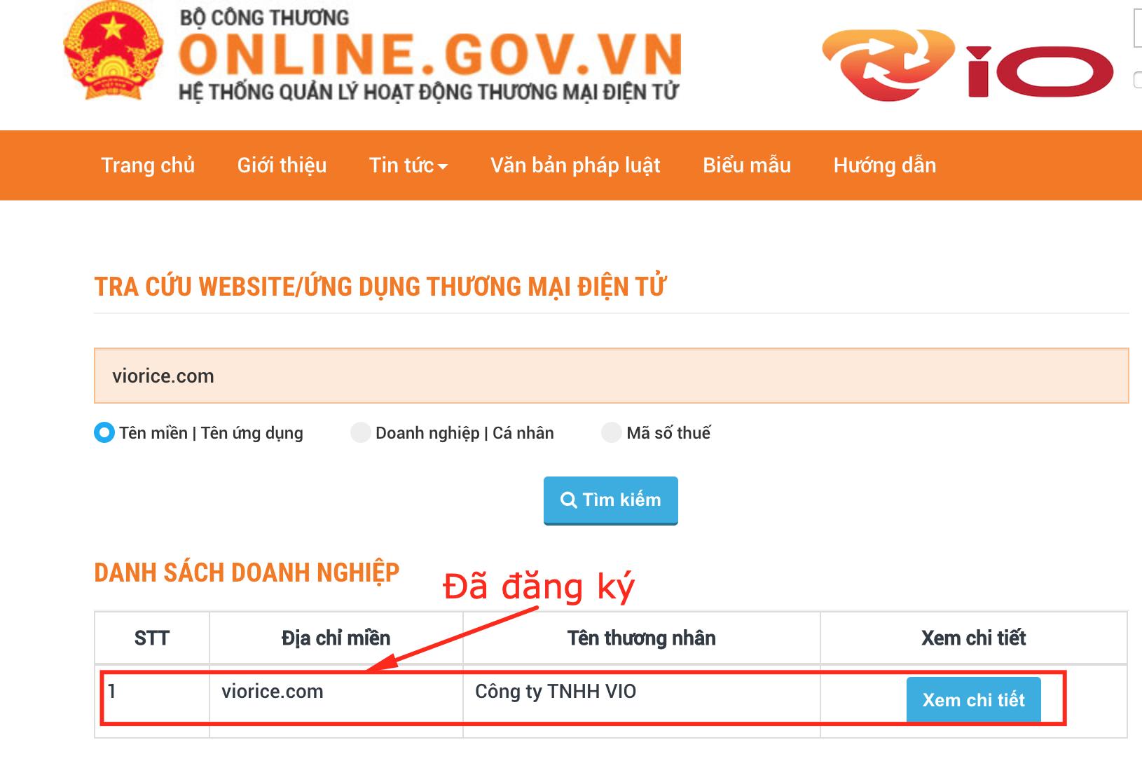 website đã được bộ công thương công nhận