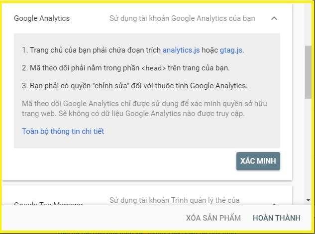 xác minh bằng google analytics