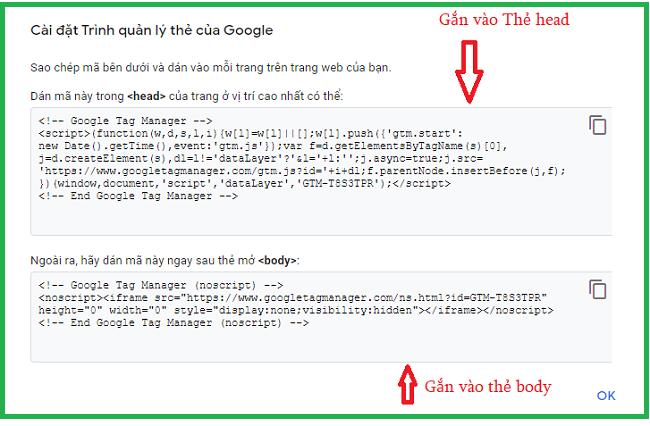 gắn mã code GTM