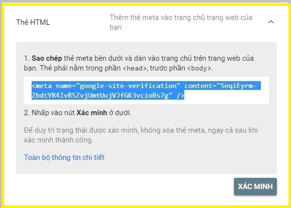 xác minh bằng phương thức html