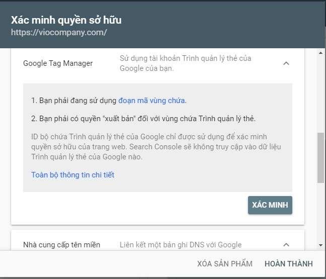 xác minh bằng google tag manager